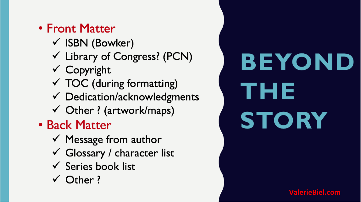 Beyond the Story - The other things you need to self-publish your work.