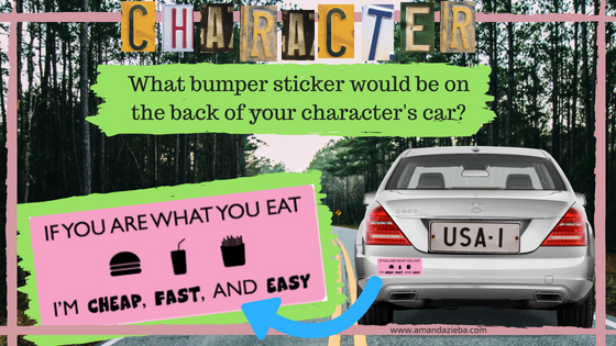 What bumper sticker is on your fictional character's car?