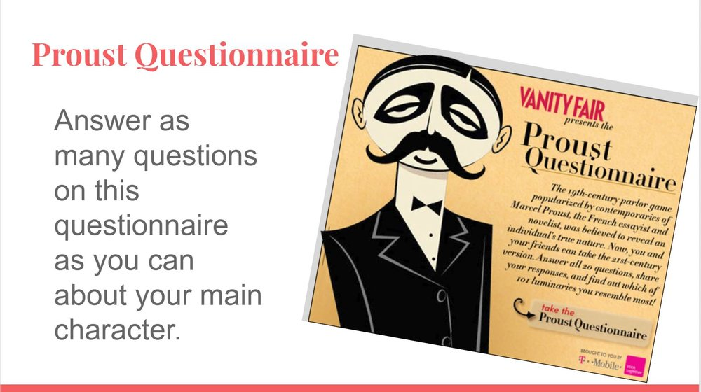 Proust Questionnaire for building your fictional characters.