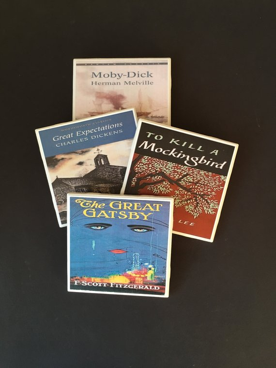 Great writerly gifts for Christmas -- classic book cover coasters